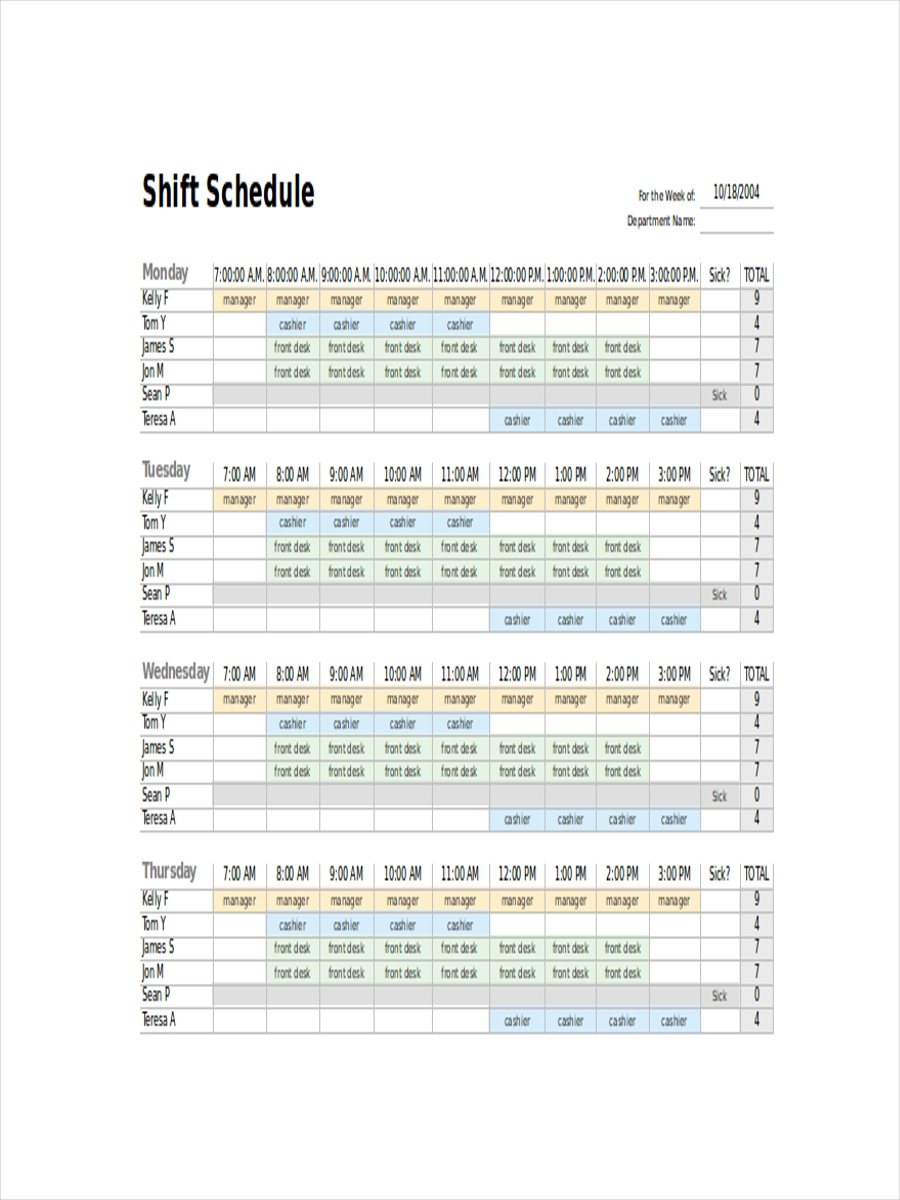 schedule for employee shift