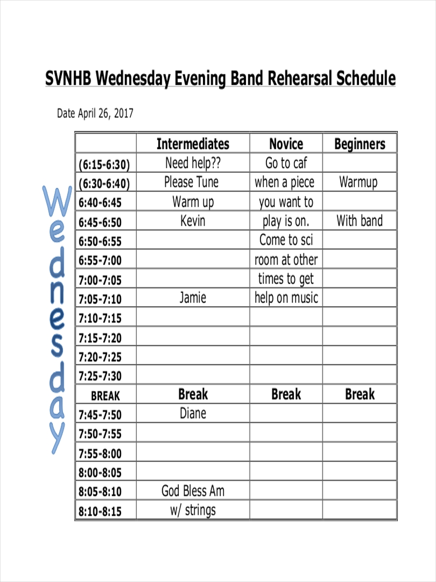 schedule for evening rehearsal