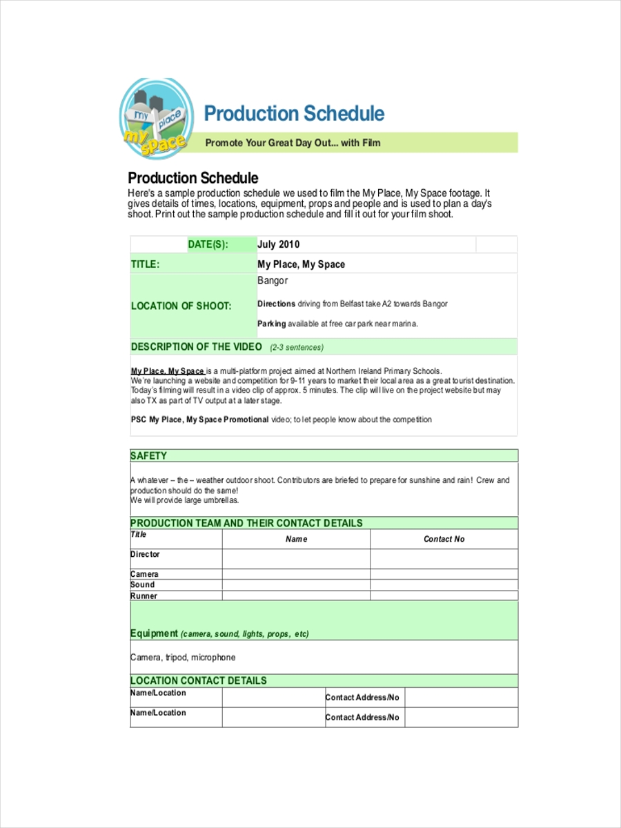 schedule for film production