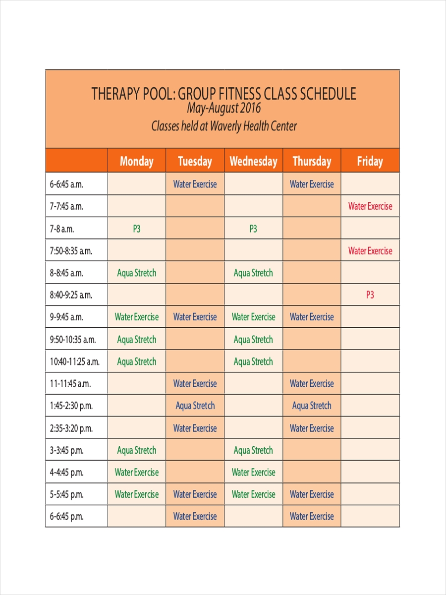 schedule for fitness therapy