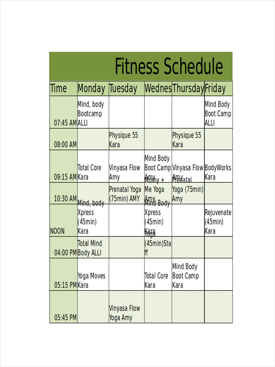 schedule for fitness workout