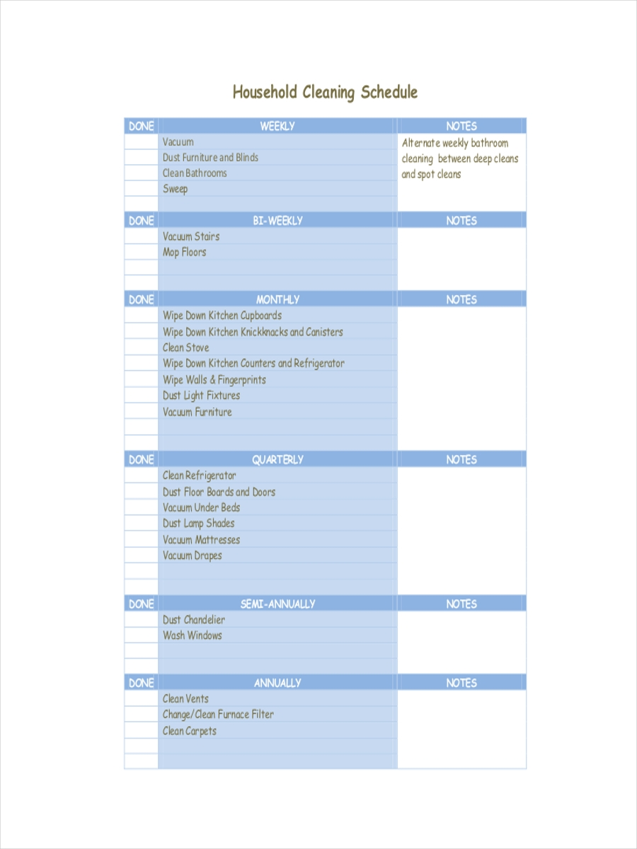 schedule for housing cleaning