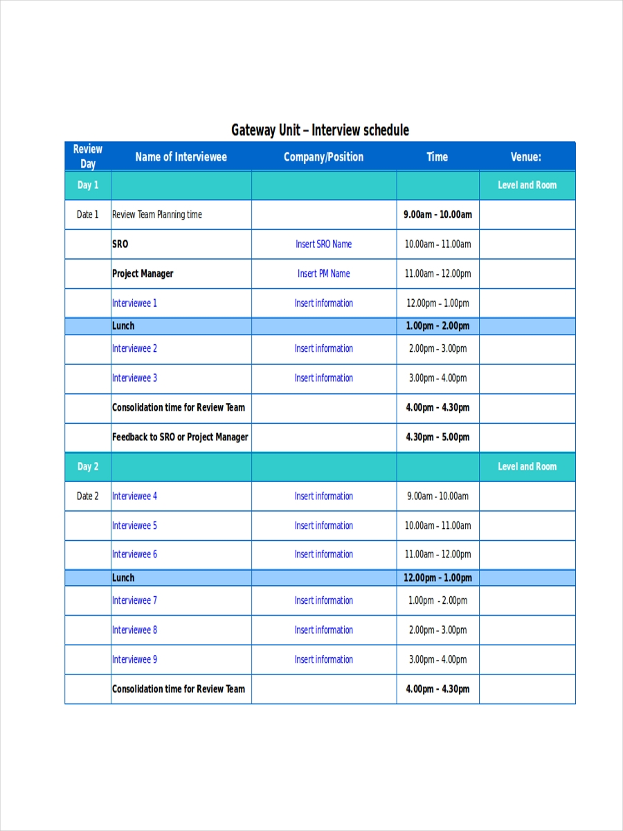 schedule for interview
