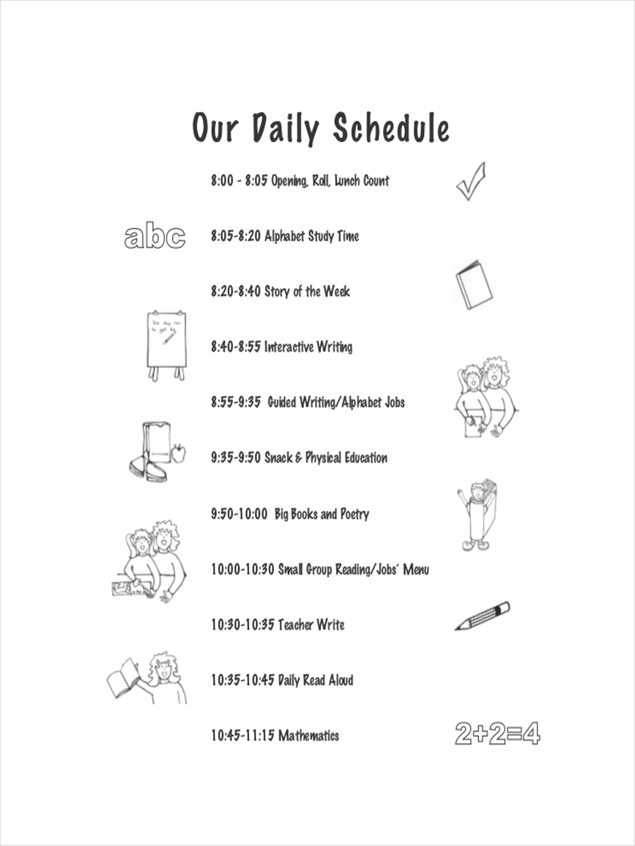 8 School Schedule Examples Samples