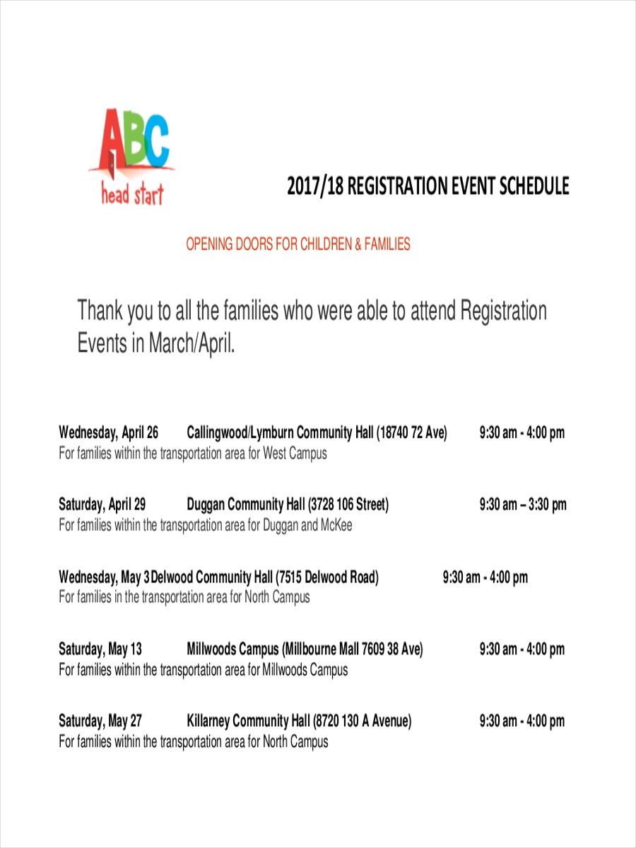 schedule for registration event