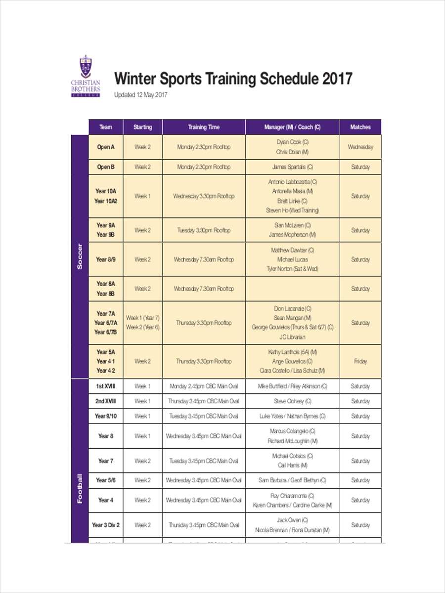 schedule for sports training