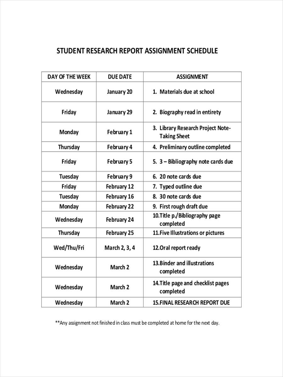 schedule for student assignment