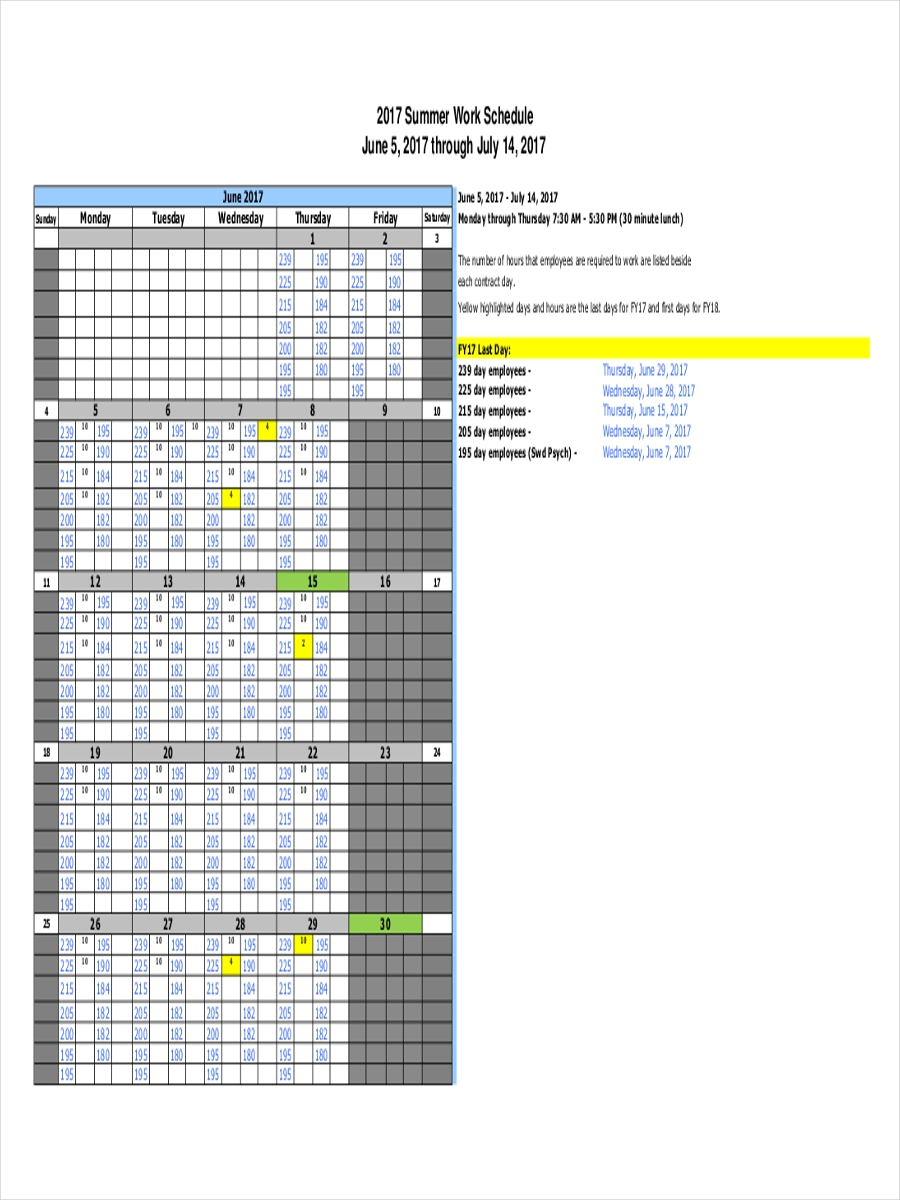 9 work schedule examples samples