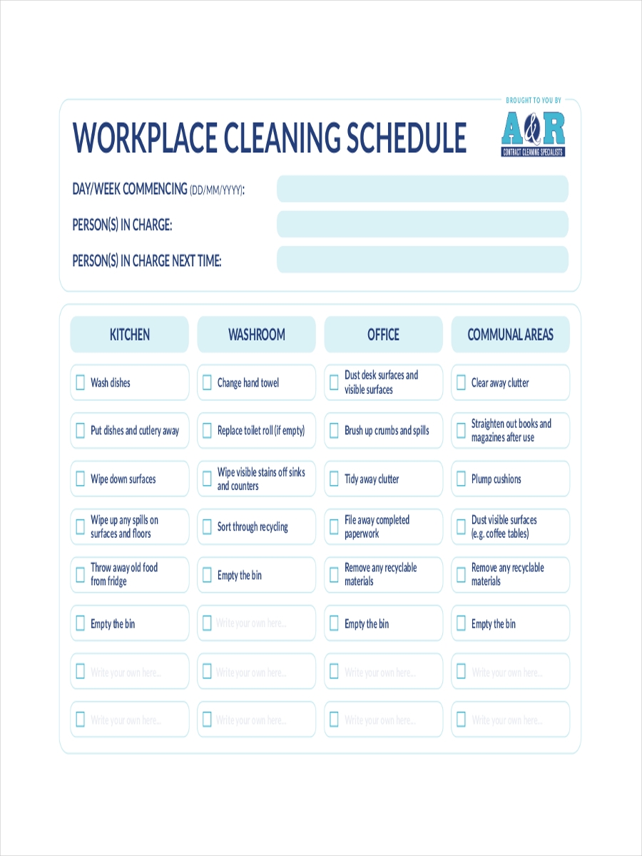 schedule for workplace cleaning