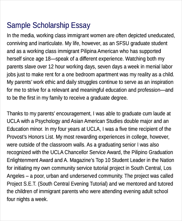 scholarship essays examples - Example Essays For Scholarships