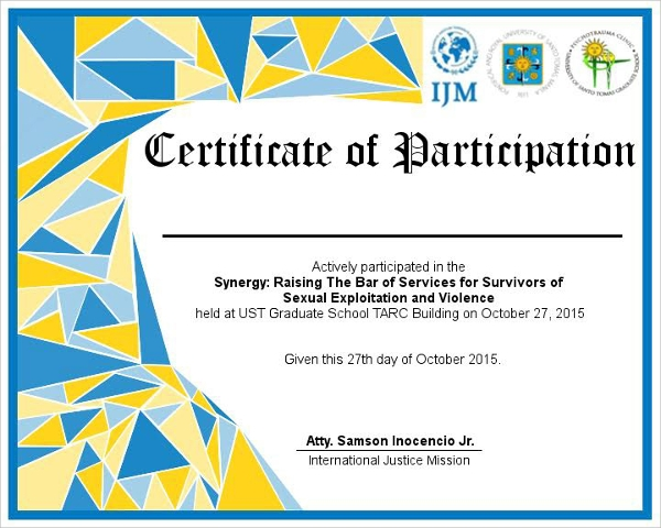 Participation Certificates Examples  Samples