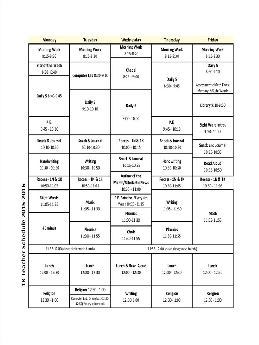 school teacher schedule