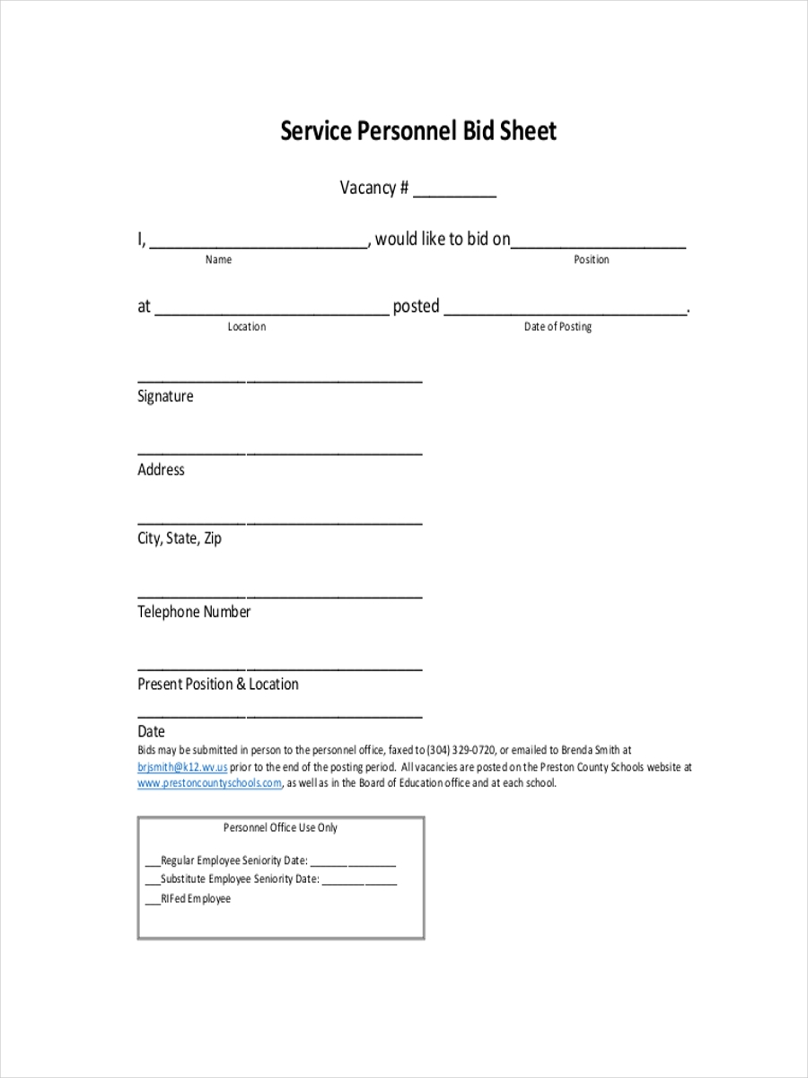 9 examples of bid sheets