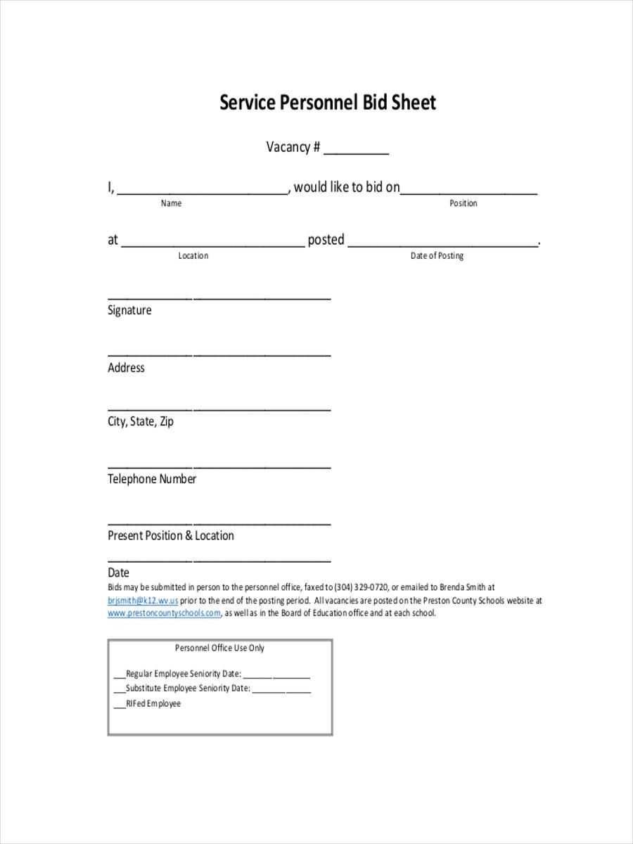 10 bid sheet examples samples pdf word pages