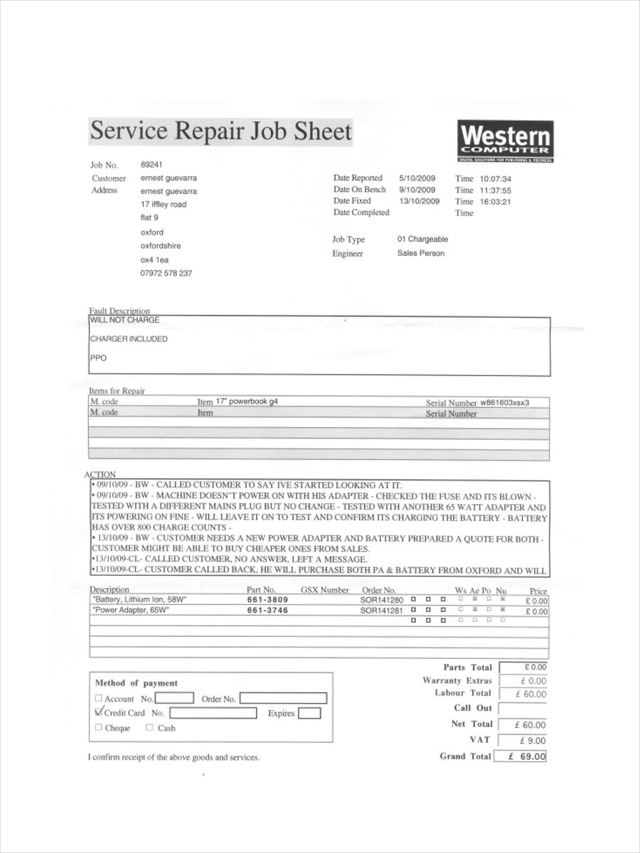 service job sheet template