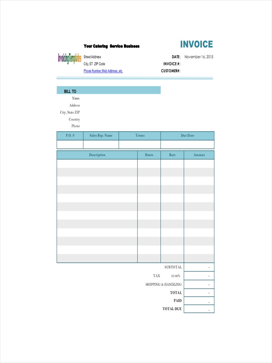 services receipt for catering