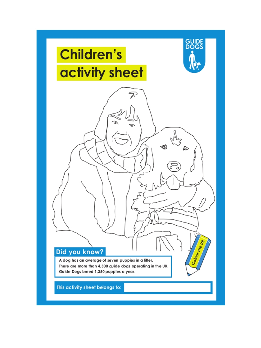 sheet for childrens activity