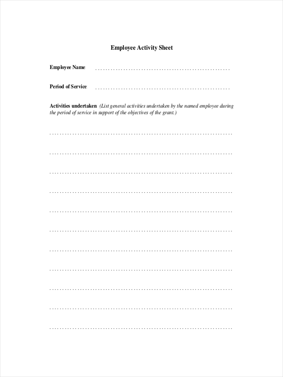 sheet for employee activity