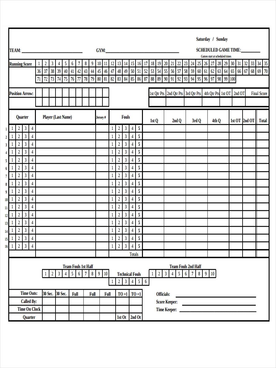 sheet for game score