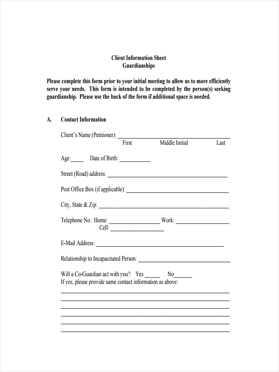 sheet for guardianship client information