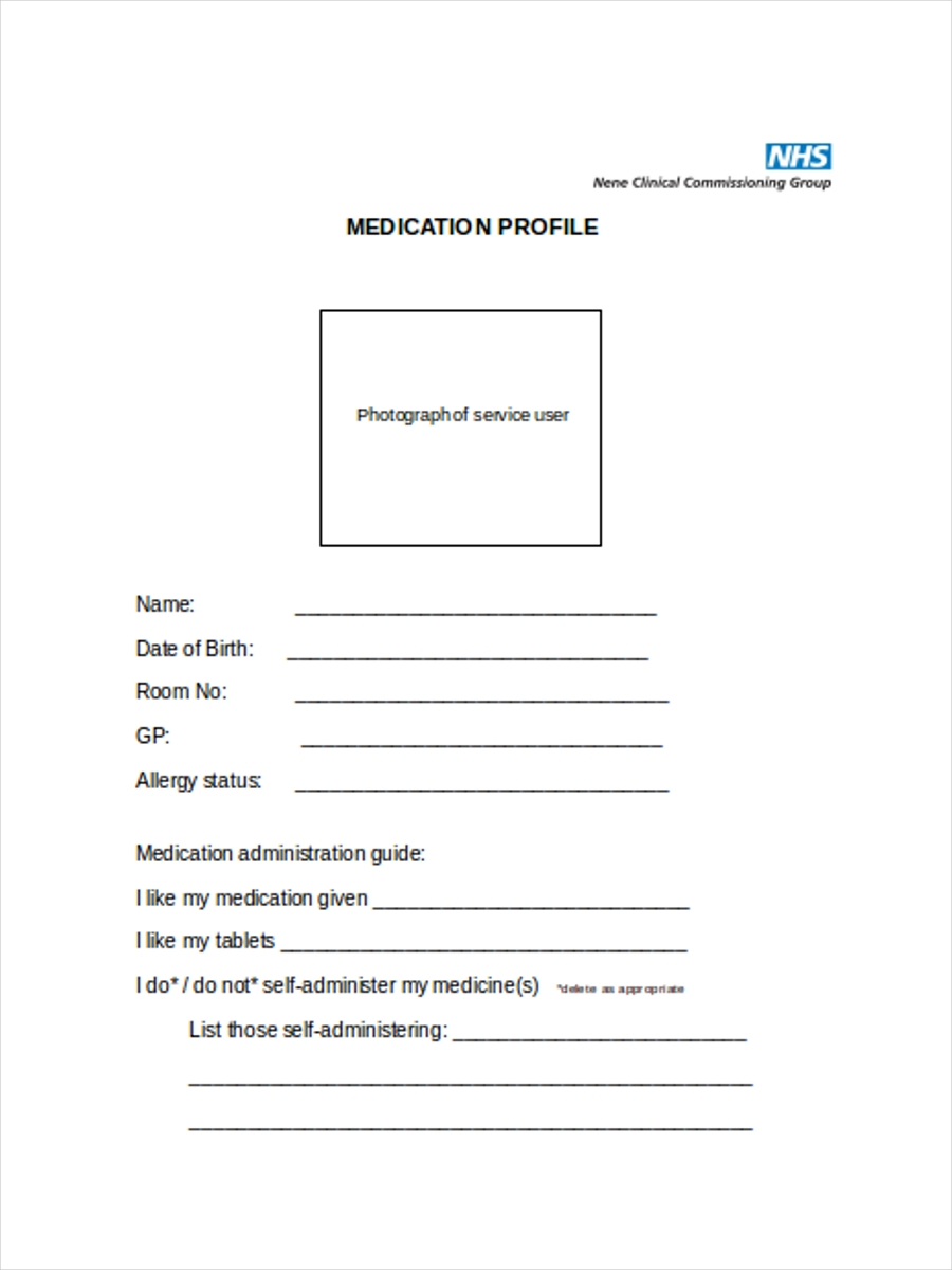 sheet for medication profile
