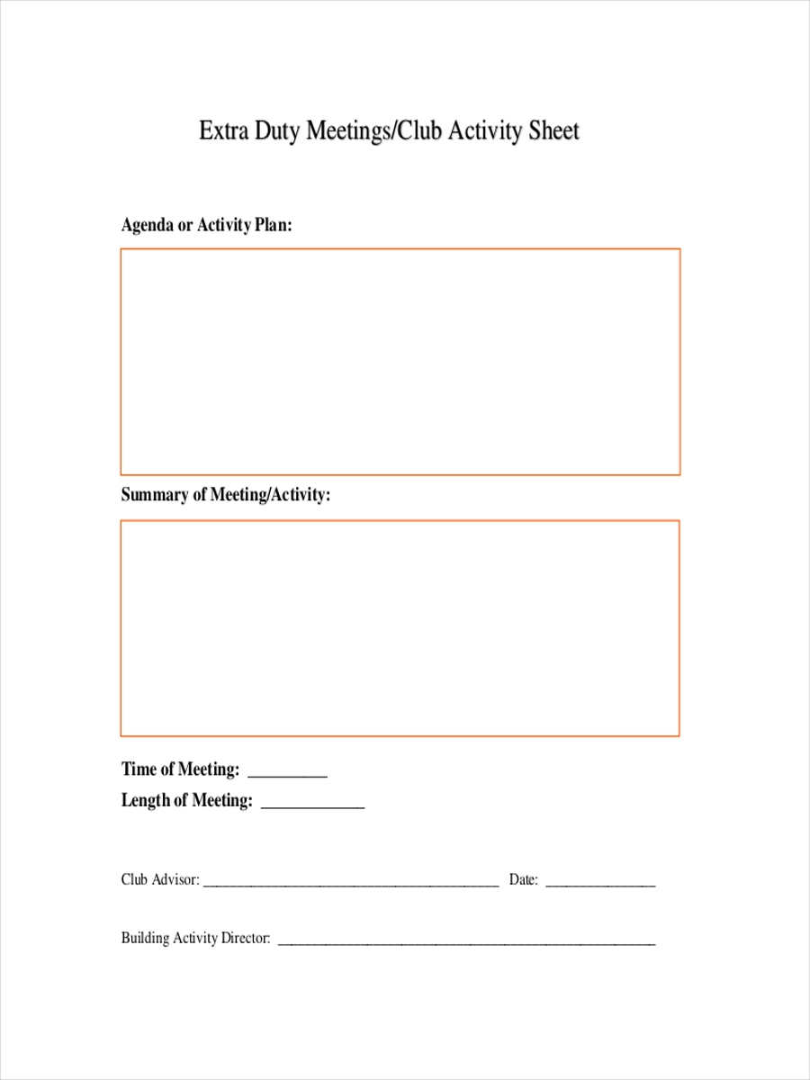 sheet for meeting activity