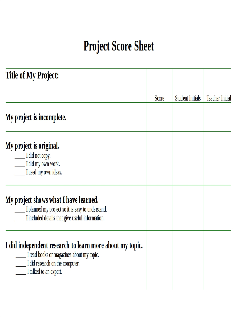 sheet for project score