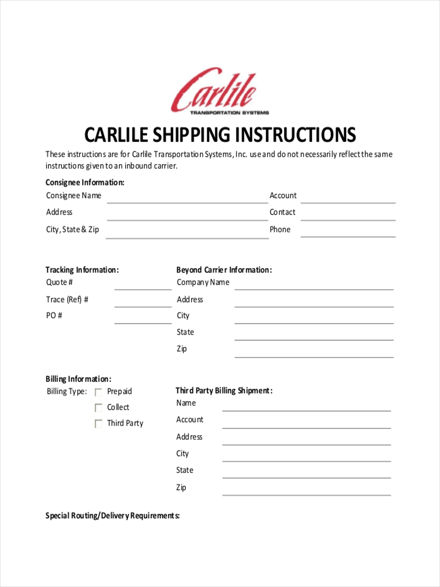 sheet for shipping instruction