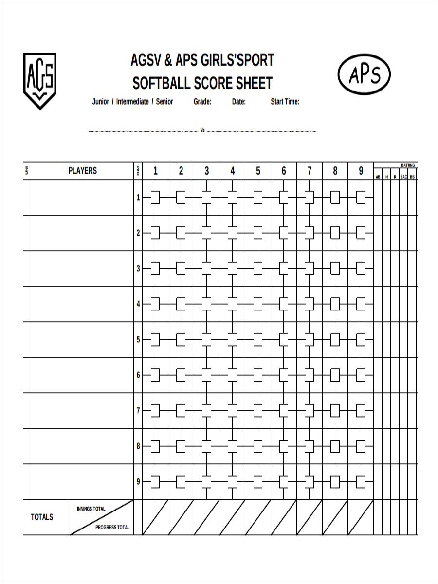 sheet for softball score