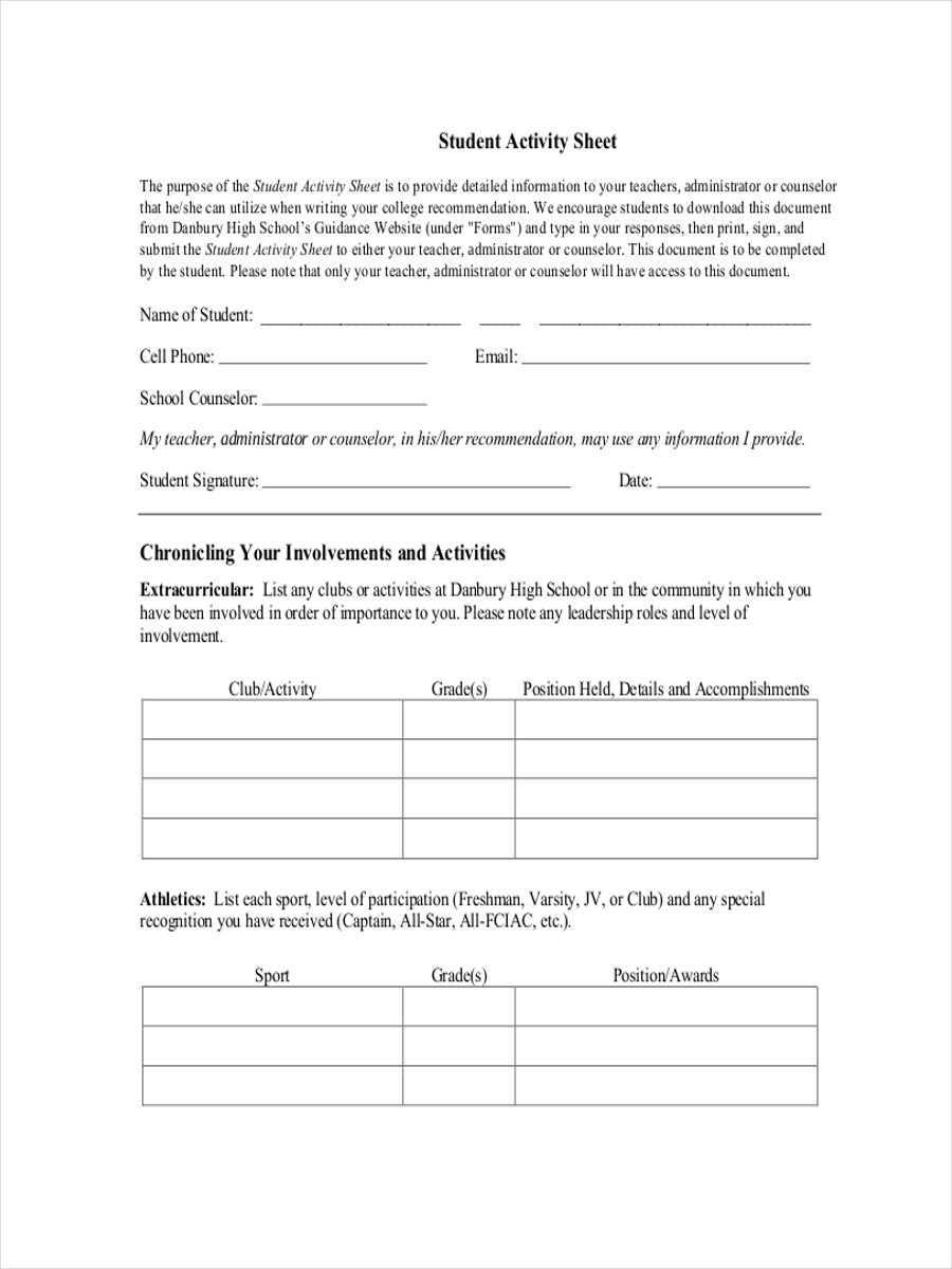 sheet for student activity