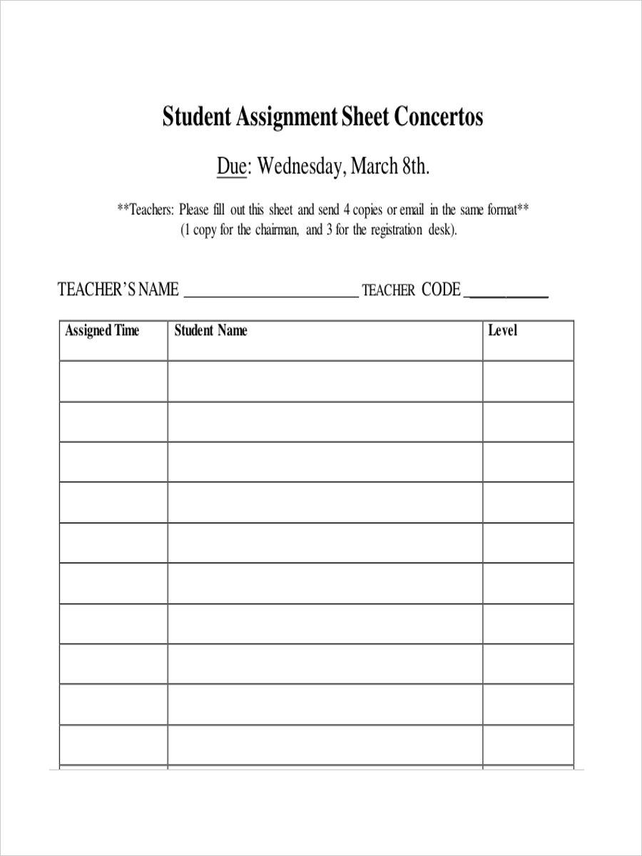 sheet for student assignment1