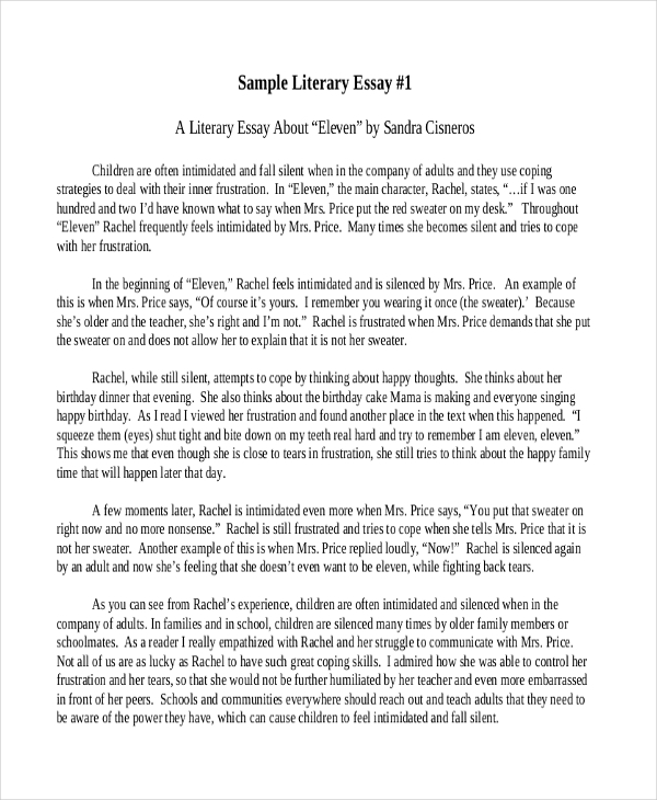 A Portrait Of The Artist As A Young Man Essay  Essay On Family also Examples Of Literary Essays Free  Literary Essay Examples  Samples In Pdf  Examples Introduction For An Argumentative Essay