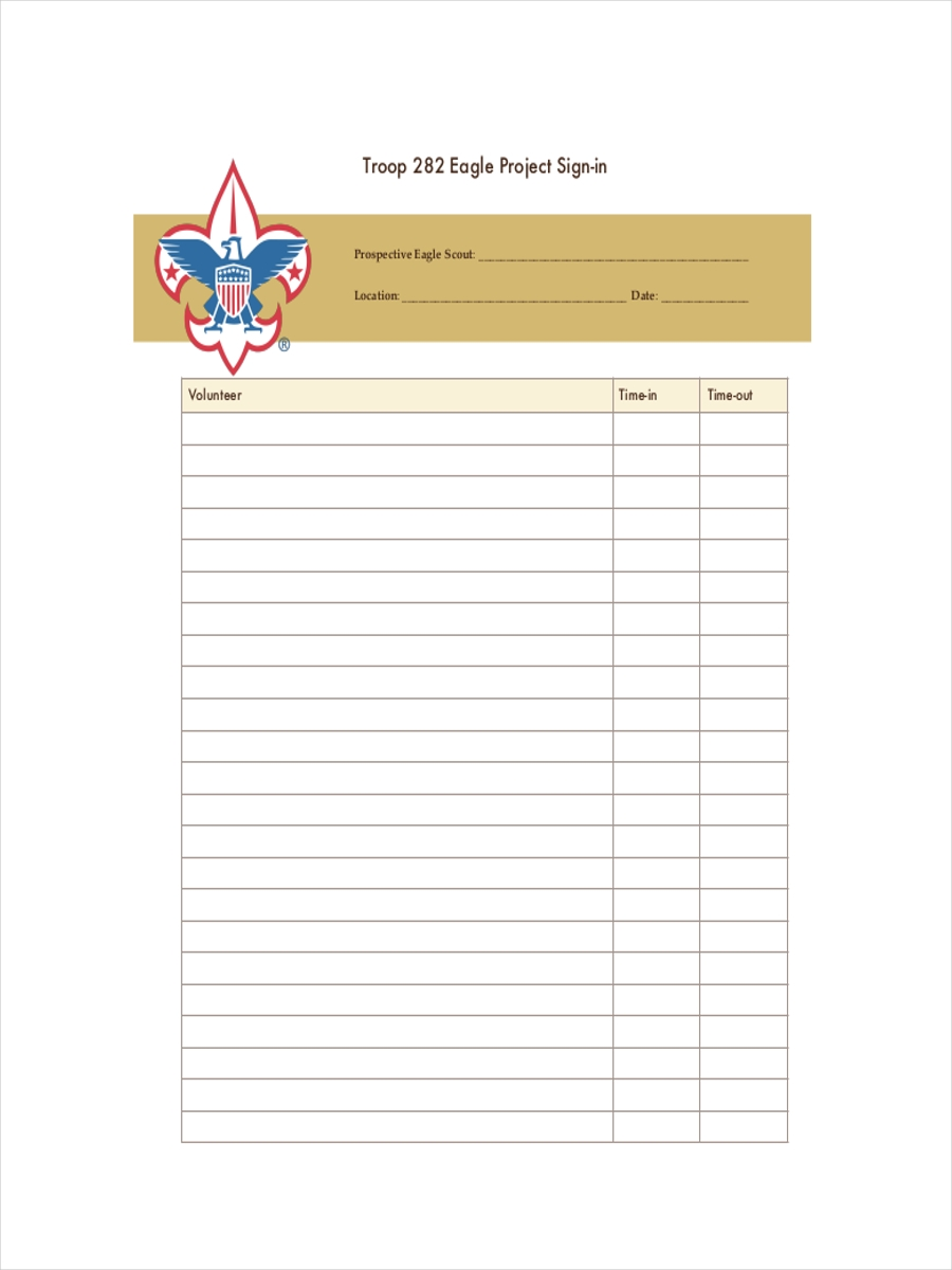 sign in sheet for eagle project