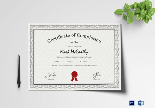 26 completion certificate examples samples simple certificate of completion template yelopaper Image collections
