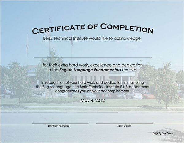 Simple Certificate of Completion