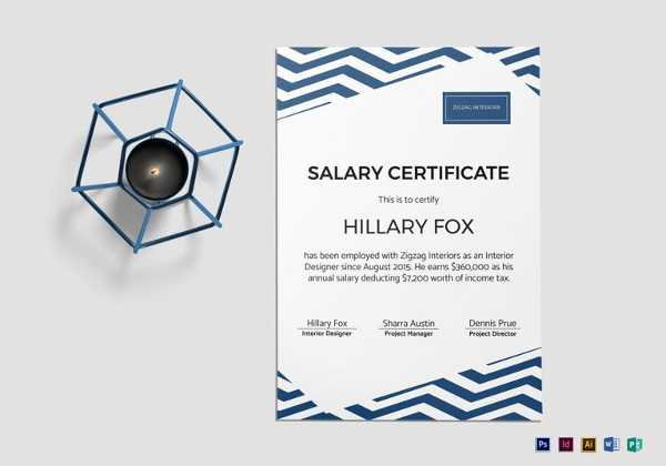 simple salary certificate word template