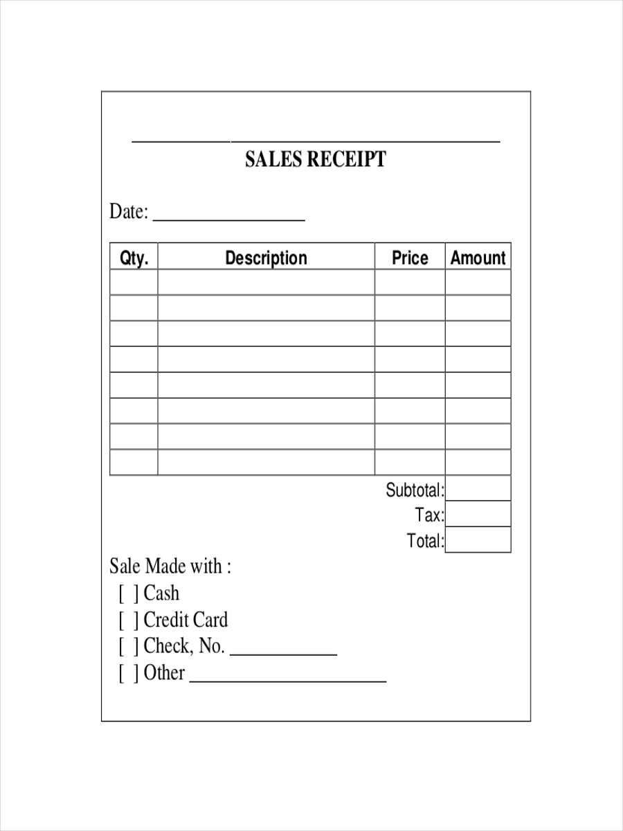 7 sales receipts examples samples