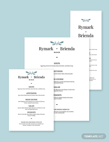 simple wedding menu template