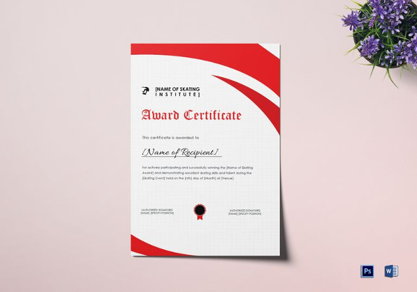 Award Certificates Examples  Samples