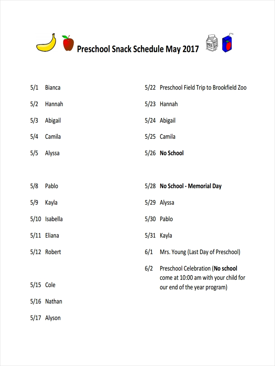 snack schedule for preschool