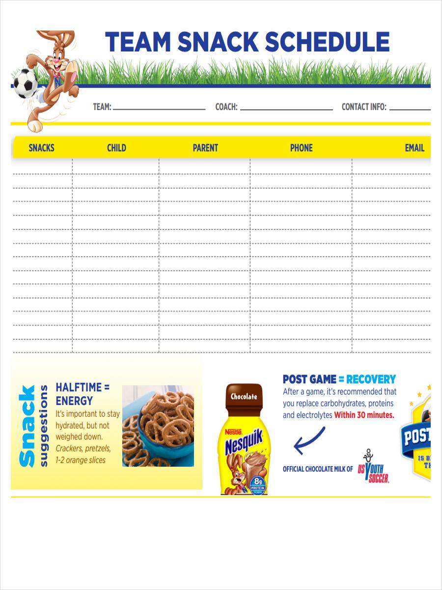 free 8  snack schedule examples  u0026 samples in pdf