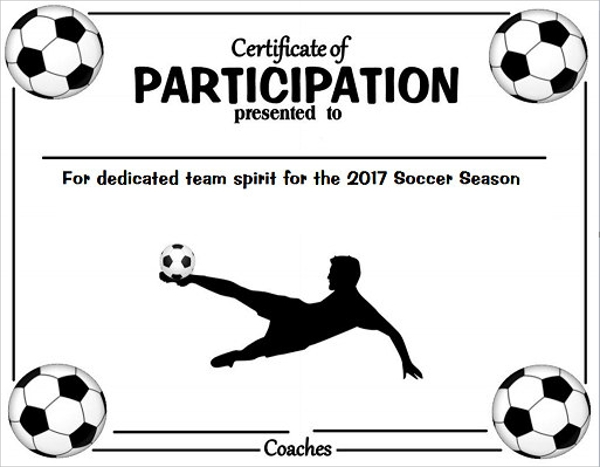 soccer participation certificate