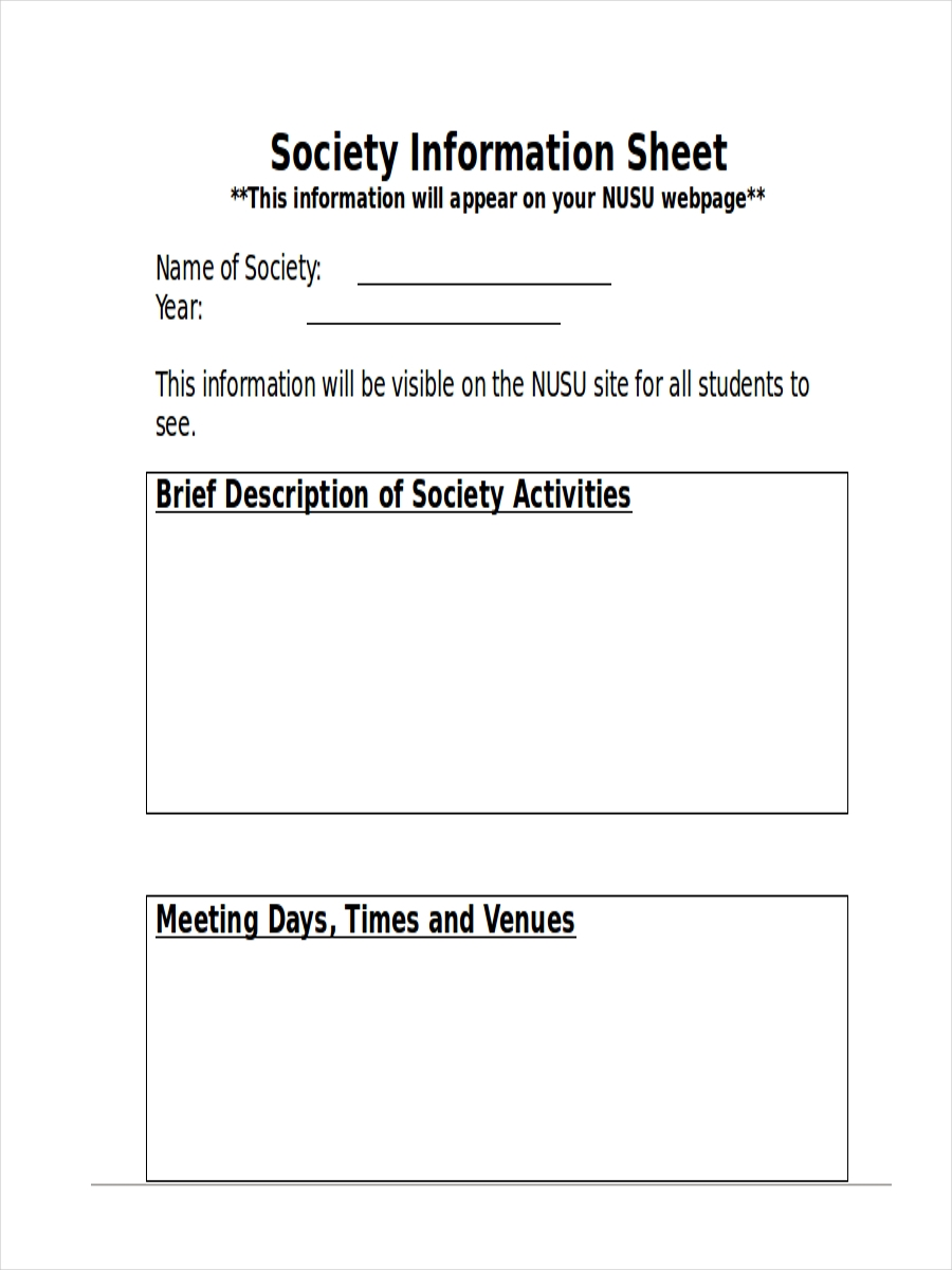 society information sheet example