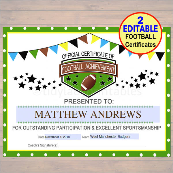 Sports Certificate Sample
