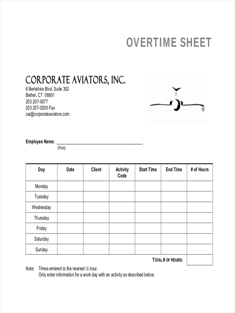 5 Examples Of Overtime Sheets