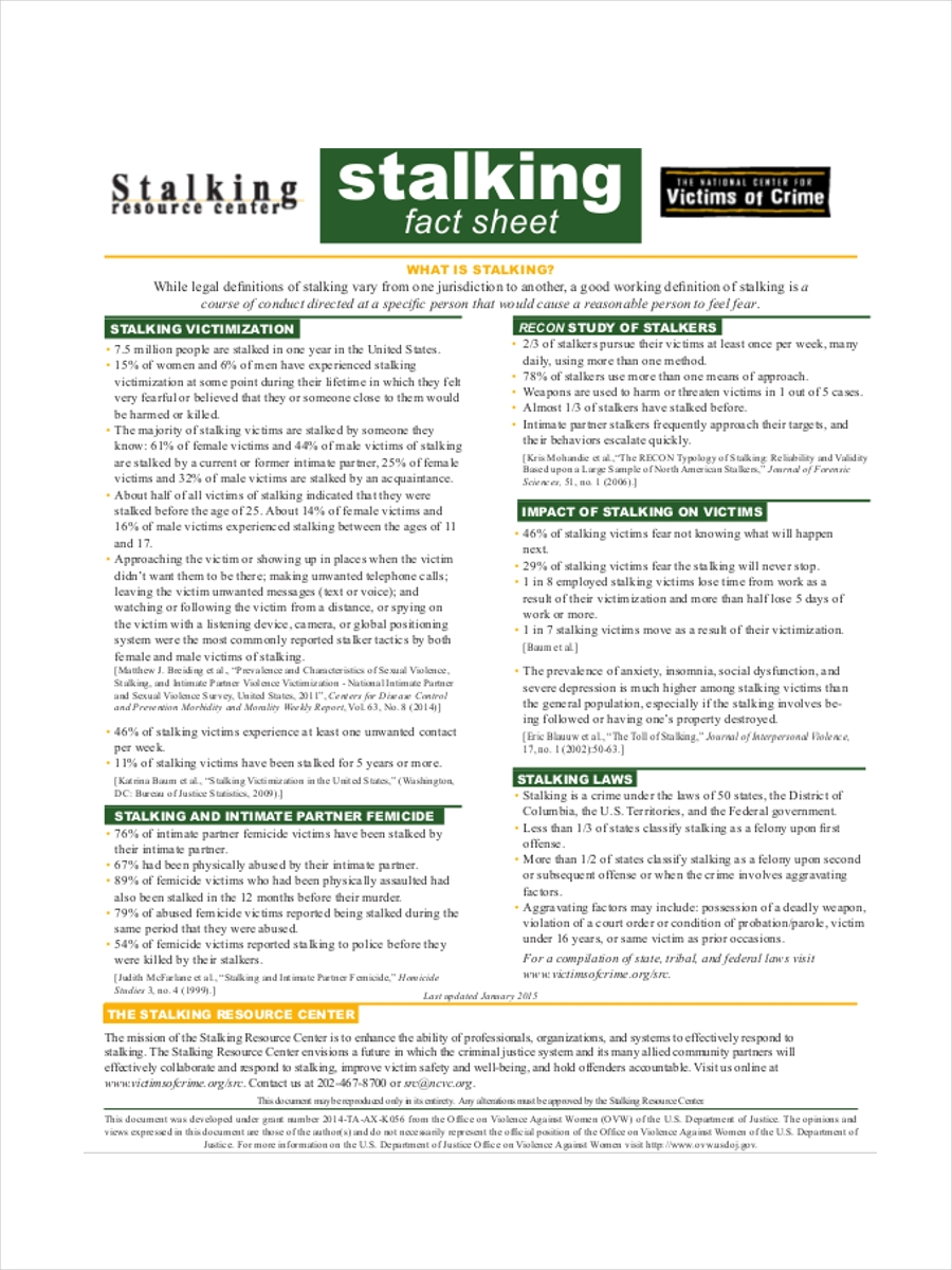 stalking fact sample sheet