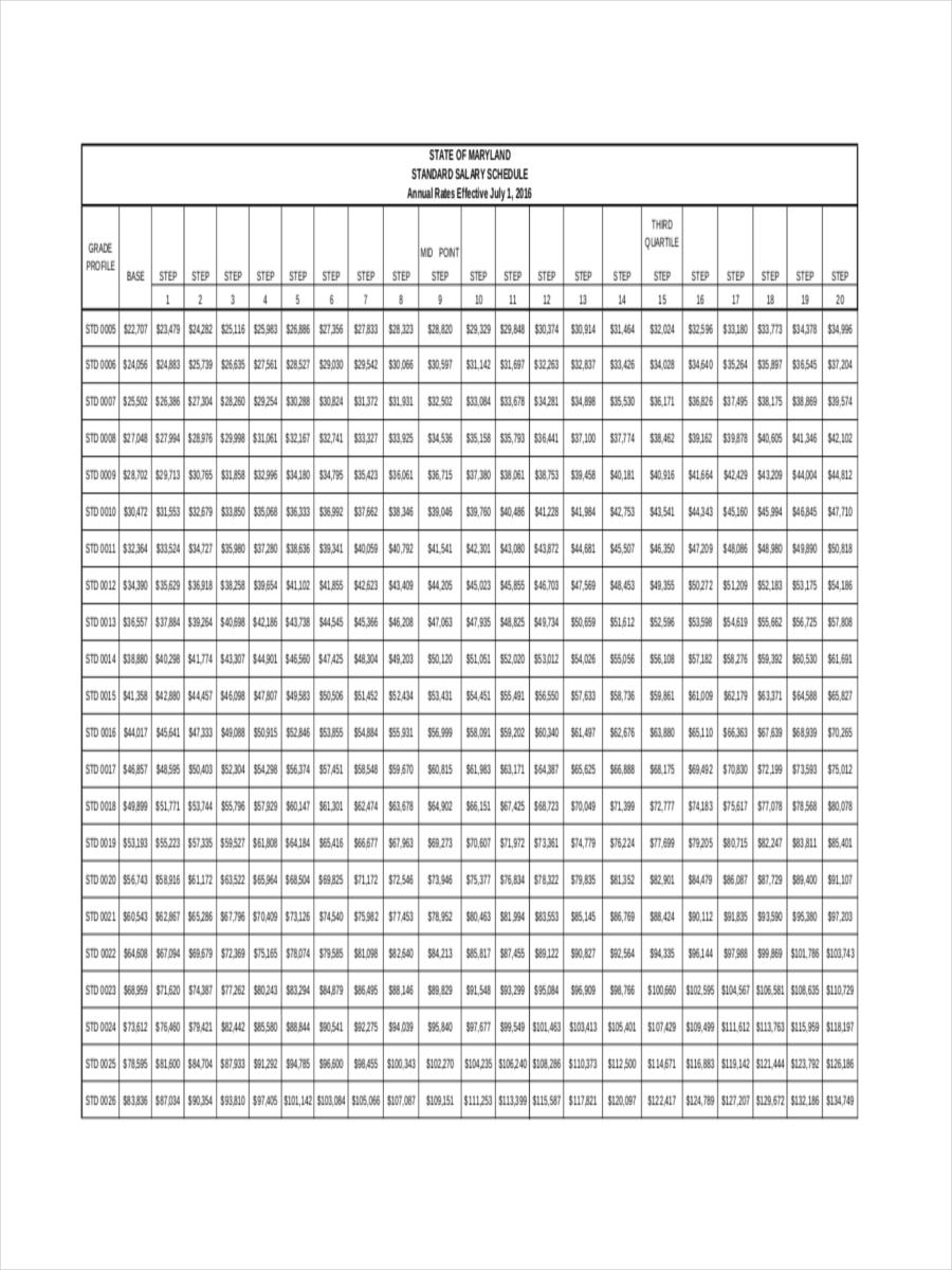 standard salary schedule