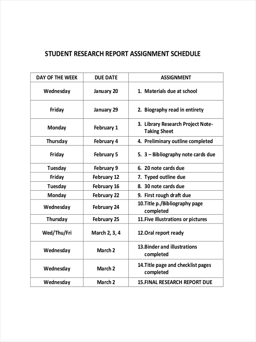 student assignment schedule