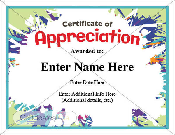 Certificate Of Appreciation Examples  Samples