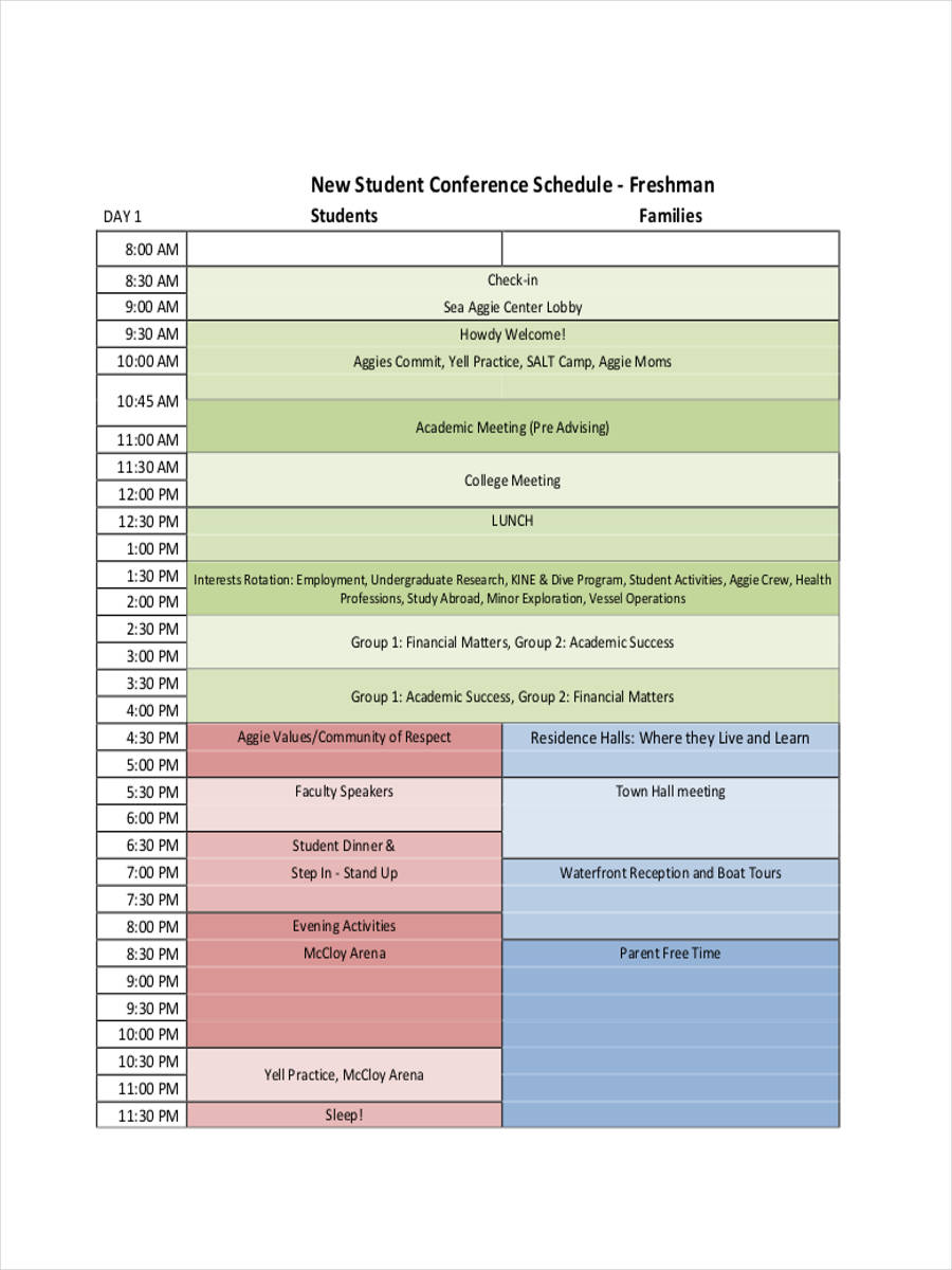 student conference schedule1